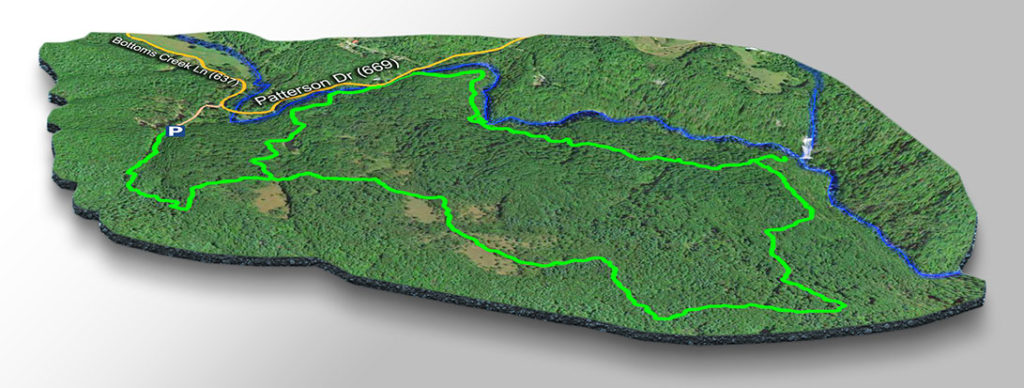 Map - Bent Mountain Falls-3D