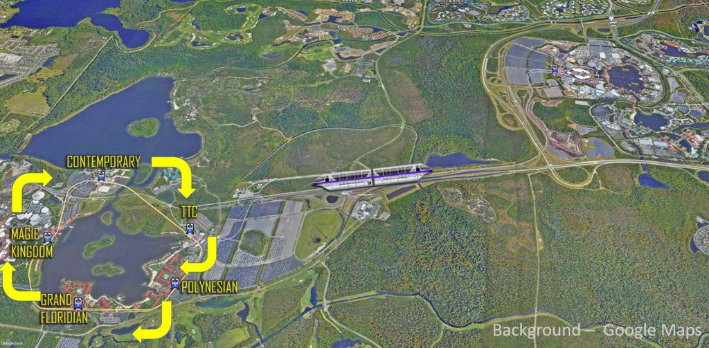 Disney World Resort Monorail Map