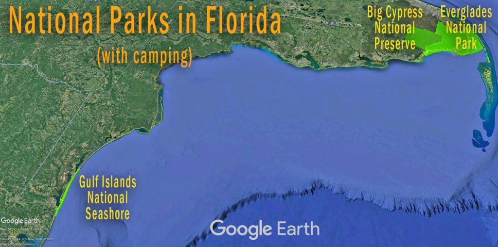 Florida Camping Map - National Parks