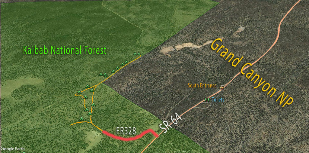 Grand Canyon Free Camping in Kaibab NF - Map