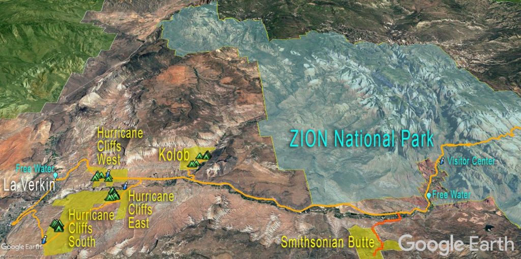Zion National Par - Free Camping Map